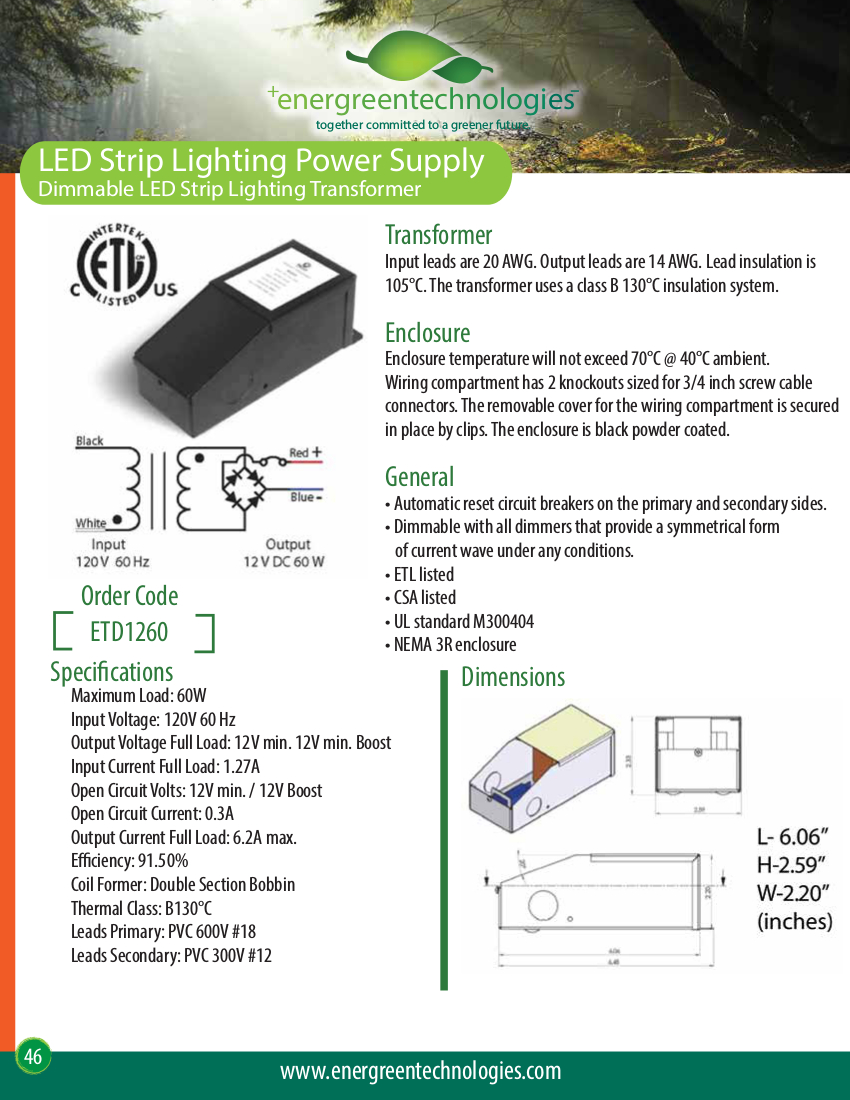 Fine Etd1260 Strip Lighting Power Supply Energreen Technologies Wiring Cloud Cosmuggs Outletorg